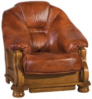 PYKA Lord kožené kreslo drevo D3 / hnedá (Antyk S41)