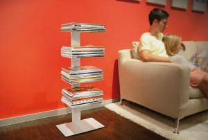 Radius design cologne Knihovna na časopisy 4 poličky RADIUS DESIGN (BOOKSBAUM MAGAZINE STAND SMALL white 738B) bielá