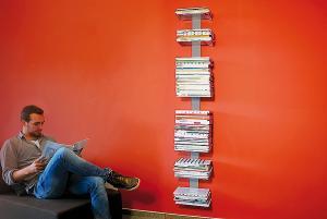 Radius design cologne Knihovna na časopisy 8 poliček RADIUS DESIGN (BOOKSBAUM MAGAZINE WALL BIG silver 746C) strieborná