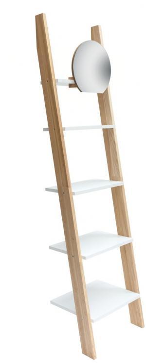 RAGABA Ashme rebrík úzky so zrkadlom, biela