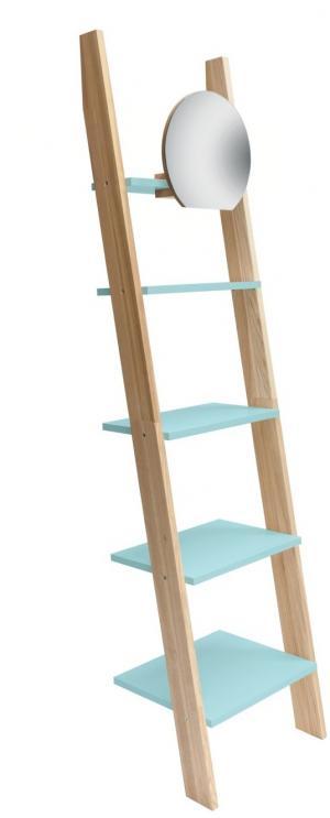 RAGABA Ashme rebrík úzky so zrkadlom, svetlotyrkysová