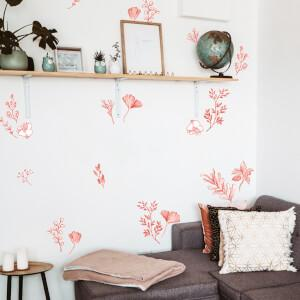 Rastlinný motív, červené kvety a listy- nálepka na stenu