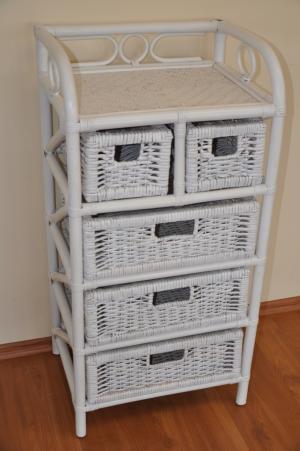 ratanová komoda - 3+2 zásuvky biela