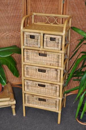 ratanová komoda - 4+2 zásuvky medová