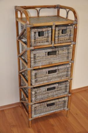 ratanová komoda - 4+2 zásuvky ratan kubu