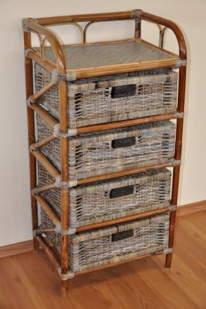 ratanová komoda - 4 zásuvky ratan kubu