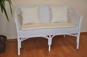 Ratanová lavica Fabion biela polstry biele