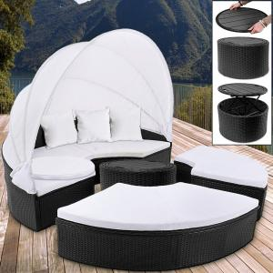 Ratanová záhradná posteľ LAZY - čierna