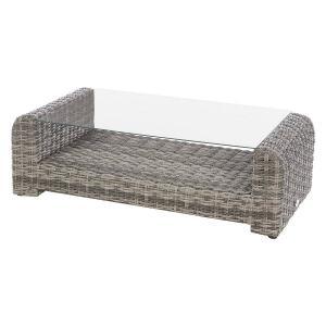 Ratanový konferenčný stolík BORNEO 122 x 62 cm (šedá)