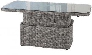 Ratanový stôl jedálenský/odkladací BORNEO 150 x 80 cm (sivá)
