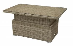 Ratanový stôl výsuvný jedálenský / odkladací 140 x 80 cm SEVILLA (béžová)