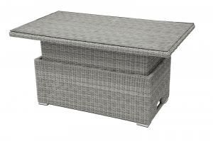 Ratanový stôl výsuvný jedálenský / odkladací 140 x 80 cm SEVILLA (sivá)