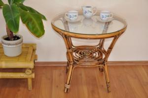 ratanový stolík Bahama - brown wash + sklo
