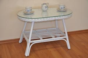 ratanový stolík Fabion oválny - biely