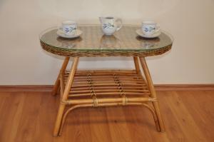 ratanový stolík Fabion oválny - brown wash