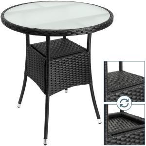 Ratanový stolík okrúhly-čierna