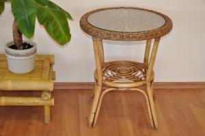 ratanový stolík Safari brown wash