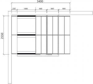 Regálový systém Transform, 3400x2550 mm, 80 políc