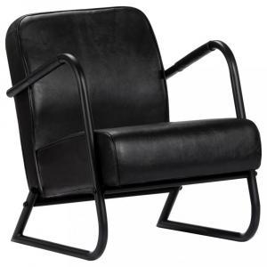 Relaxačné kreslo pravá koža / oceľ Dekorhome Čierna