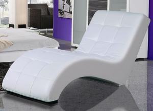 Relaxačné ležadlo Laguna, biela ekokoža