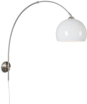Retro nástenné oblúkové svietidlo oceľové s bielym tienidlom nastaviteľné