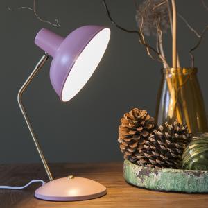 Retro stolová lampa ružová s bronzom - Milou