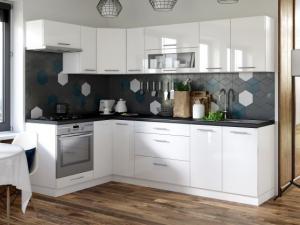 Rohová kuchyňa Emilia ľavý roh 243x143 cm (biela lesklá/čierna)