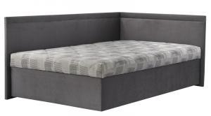 Rohová posteľ Travis pravá 120x200, šedá látka