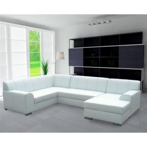 Rohová sedacia súprava, P, ekokoža biela/sivé prešitie, BAZIL U
