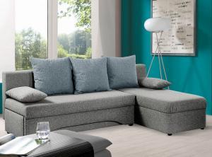 Rohová sedacia súprava Polaris, šedá/modrá tkanina