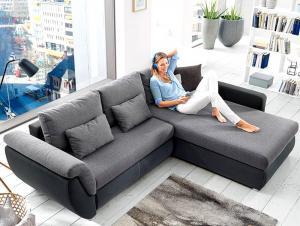 Rohová sedacia súprava Torgau, černá/šedá tkanina