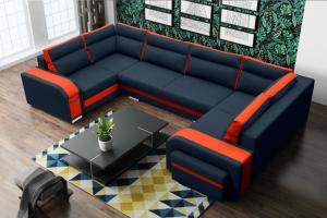 Rohová sedačka Asperata U (tmavosivá + oranžová) (P)