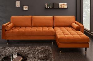 Rohová sedačka Cozy Velvet 260cm oranžová