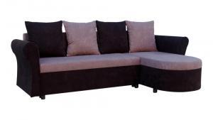 Rohová sedačka - Darley s opierkami - čierna - sivá - (2 úložné priestory, pena) + vankúše. Akcia -33%.
