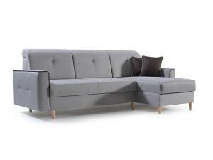 Rohová sedačka - Hosta (svetlosivá + čierna) (P). Akcia -33%