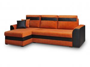 Rohová sedačka - Madlyn (oranžová + čierna) (L). Akcia -33%.