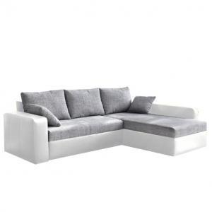 Rohová sedačka Manter biela + šedá (P)