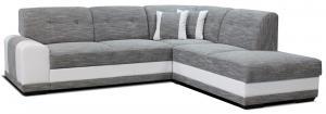 Rohová sedačka - Po-Sed - Bella Lux 2F+L (sivá + biela) (P). Akcia -13%. Doprava ZDARMA. Sme autorizovaný predajca Po-Sed.