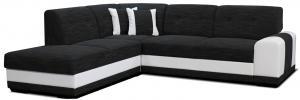 Rohová sedačka - Po-Sed - Bella Lux L+2F (čierna + biela) (L). Akcia -13% Sme autorizovaný predajca Po-Sed.