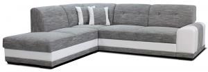 Rohová sedačka - Po-Sed - Bella Lux L+2F (sivá + biela) (L). Akcia -13%. Doprava ZDARMA. Sme autorizovaný predajca Po-Sed.