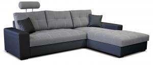 Rohová sedačka - Po-Sed - Corato 2F+L (sivá + čierna) (P). Akcia -16%. Doprava ZDARMA. Sme autorizovaný predajca Po-Sed.