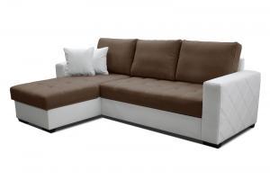 Rohová sedačka - Po-Sed - Faro L+2F (hnedá + biela) (L). Akcia -10% Sme autorizovaný predajca Po-Sed.