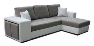 Rohová sedačka - Po-Sed - Thema Lux 2F+L (hnedá + biela) (P). Akcia -14%. Doprava ZDARMA. Sme autorizovaný predajca Po-Sed.