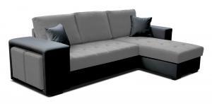 Rohová sedačka - Po-Sed - Thema Lux 2F+L (I91 sivá + B110 čierna) (P). Akcia -14%. Doprava ZDARMA. Sme autorizovaný predajca Po-Sed.