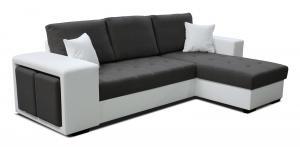 Rohová sedačka - Po-Sed - Thema Lux 2F+L (tmavosivá + biela) (P). Akcia -14%. Doprava ZDARMA. Sme autorizovaný predajca Po-Sed.