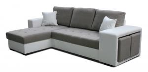 Rohová sedačka - Po-Sed - Thema Lux L+2F (hnedá + biela) (L). Akcia -14%. Doprava ZDARMA. Sme autorizovaný predajca Po-Sed.