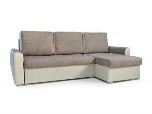Rohová sedačka - Primo (svetlohnedá + béžová) (P). Akcia -33%.