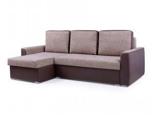 Rohová sedačka - Primo (svetlohnedá + tmavohnedá) (L). Akcia -33%.