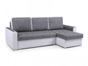 Rohová sedačka - Primo (svetlosivá + biela) (P). Akcia -33%.
