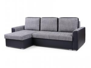 Rohová sedačka - Primo (svetlosivá + čierna) (L). Akcia -33%.